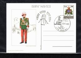 1980, San Marino, Milità Della Guardia Di Rocca, SST FDC,  Uniform, S.Scan - San Marino