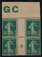 CR-35: FRANCE: Lot  Avec Millésime 1919 Avec Manchette GC Sur N°137** - Millesimes
