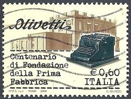 Italia, 2008 Olivetti 0.60 €. # Sassone 3011 - Michel 3220 - Scott 2851  USATO - 6. 1946-.. Repubblica