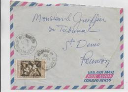 MADAGASCAR - 1958 - ENVELOPPE Par AVION De BABETVILLE (RARE) => ST DENIS (REUNION) - Covers & Documents