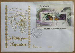FDC Italia 2000 - Foglietto Avvento Anno 2000 - Meditazione Espressione - Francobolli
