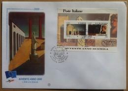FDC Italia 2000 Foglietto Avvento Anno 2000 - Arte E Scienza - Annullo Tematico - Francobolli