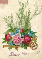 Carte Avec CHROMO Brouette De Fleurs Et Herbes Réelles Dessus 1913 - Fêtes - Voeux
