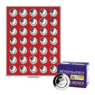 Lindner 2225-10EK Münzbox STANDARD Für 35 Verkapselte Deutsche 10€-Sammlermünzen Mit Polymerring, Inkl. 10 Münzkap - Zubehör