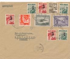 Nederlands Indië - 1947 - 10 Zegels Op LP Cover Met Deviezencensuur Van Batavia Naar Bilthoven - Nederlands-Indië