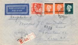 Nederlands Indië - 1949 - 65 Cent Mengfrankering Met Indonesia Op R-cover Van Tegal Naar Laren / NL - Naamloze Strook - Nederlands-Indië
