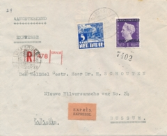 Nederlands Indië - 1949 - 105 Cent Frankering Met Indonesia Op ExpressR-cover Van Makasser Naar Bussum - Naamloze Strook - Nederlands-Indië