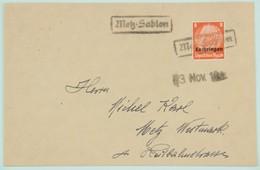 Lettre Nov. 1940 Metz, Affr. 8 Pf Tarif Local, Cachet Rectangulaire Caoutchouc Metz - Sablon - Alsace-Lorraine