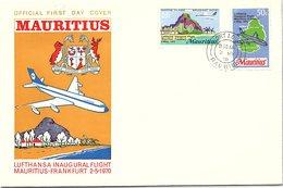 MAURITIUS  - FDC LUFTHANSA INAUGURAL FLIGHT MAURITIUS-FRANKFURT 2.5.1970 - PORT LOUIS 2.5.70  / 2 - Maurice (1968-...)