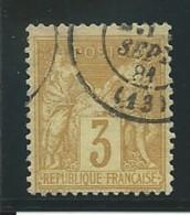 FRANCE: Obl., N° YT 86, T.II, Bistre-jaune, TB - 1876-1898 Sage (Type II)