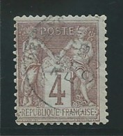 FRANCE: Obl., N° YT 88a, T.II, Lilas Sur Azuré, Centré, TB - 1876-1898 Sage (Tipo II)