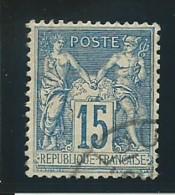 FRANCE: Obl., N° YT 90, T.II, Bleu, Tb Centré, TB - 1876-1898 Sage (Type II)