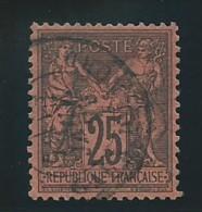 FRANCE: Obl., N° YT 91, T.II, Noir Sur Rouge, Tb Centré, TB - 1876-1898 Sage (Type II)