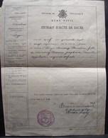 DH. 52. Extrait D'acte De Décès à Brye De Demoiny Florentine En 1947. - Documents Historiques