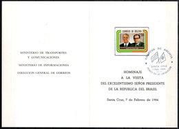 Bolivia 1984 CEFIBOL 1190TE Tarjeta Especial Homenaje Visita Del Presidente Del Brasil, Sr. João Baptista Figueiredo. - Bolivie