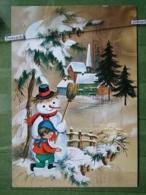 Kov 8-130 - NEW YEAR, BONNE ANNEE, CHILDREN, ENFANT, Snowman, Bonhomme De Neige, Flamme - Anno Nuovo