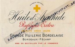 Etiquette :  Huile D'arachide, Grande Huilerie Bordelaise, Bordeaux, Fécamp, Rufisque Extra, Qualité Croix Jaune... - Etiquettes