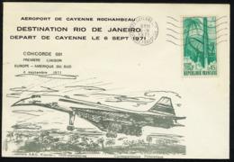 FRANCE  1971, CONCORDE 001, DESTINATION RIO De JANEIRO, Première Liaison, 1 Enveloppe Illustrée - Concorde