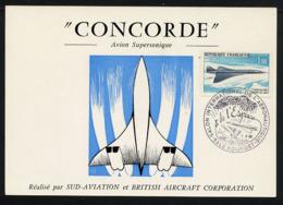 FRANCE  1969, CONCORDE, 1 Carte Salon Le Bourget, Impression Recto Seulement - Concorde