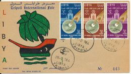 Libya Card No 443 FDC 28-2-1964 Tripoli International Fair Complet Set Of 3 With Cachet - Libya