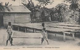 CPA:HOMMES AU SÉCHAGE DU CACAO OGOOUÉ N'KOGO GABON - Gabon