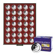 Lindner 2625-10EK Münzbox RAUCHGLAS Für 35 Verkapselte Deutsche 10€-Sammlermünzen Mit Polymerring, Inkl. 10 Münzka - Zubehör
