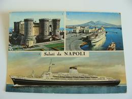 SALUTI  DA NAPOLI  LEONARDO  DA VINCI     SHIP       POSTCARD  USED  NAVE  PIROSCAFO  BATEAUX  ACQUERELLATA   BATEAU - Napoli
