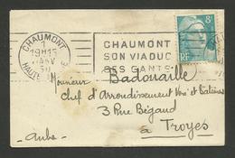 CHAUMONT / Flamme RBV Du 1ER Janvier 1950 / Mignonette 8F Marianne De Gandon - Marcophilie (Lettres)