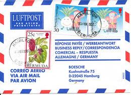 Bermuda Air Mail Cover Sent To Germany Hamilton 20-2-2002 - Bermuda