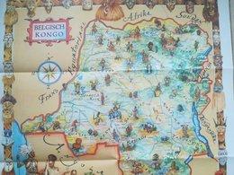 Etnografische Kaart Belgisch Congo Publicité Chocolat Côte D 'Or Vieux Papiers Cartes Carte Congo Belge Colonie Belgique - Cartes Géographiques