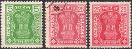 INDIA 1976 - PILASTRI DI ASHOKA - 3 VALORI USATI - India