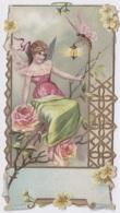 Chromos - Chromo Gaufré Publicité Chicorée Beriot à Lille 59 - Ange Rose Papillon Guêpe Lanterne - Thé & Café