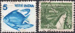 INDIA 1982 - ANIMALI, PESCI + IRRIGAZIONE - 2 VALORI USATI - India