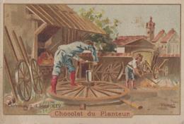 Chromos - Chromo - Chocolat Du Planteur - Métiers Histoire - Carrossier Louis XIV - Fabrication Roues - Chocolat