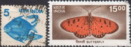 INDIA 1982/2000 - ANIMALI, PESCI + FARFALLE - 2 VALORI USATI - India