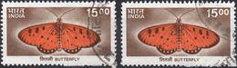 INDIA 2000 - ANIMALI, FARFALLE - 2 VALORI USATI - India