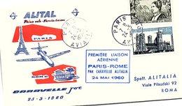 1er VOL 23.5.1960 ALITALIA CARAVELLE JET PARIS-ROME    / 4 - Vliegtuigen