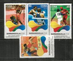 23 Ième Jeux Sportifs D'Amérique Centrale Et Des Caraïbes à Barranquilla (Colombia) 2018.  4 Timbres Neufs ** - Cuba