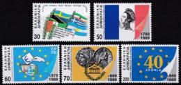 Griechenland, 1989, 1723/27 A, Politische Gedenktage, MNH ** - Nuevos