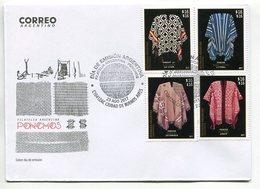 PONCHOS, FILATELIA ARGENTINA. SOBRE DIA DE EMISION ARGENTINA AÑO 2017 4 TIMBRES. ENVELOPE FDC 4 VALEURS - LILHU - Textile