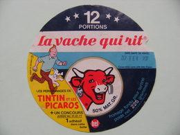"""Etiquette Fromage Fondu - Vache Qui Rit - Bel 12 Portions Pub """"Tintin Et Les Picaros"""" Hergé   A Voir ! - Quesos"""
