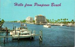 Florida Pompano Beach Apartment Buildings Along Intracoastal Wat
