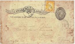 CANADA POST CARD - Entier Postal Pour Belgique - Renaix 1893 - 1860-1899 Regering Van Victoria