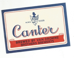 Etiket Canter Bier Brouwerij Van Dromme Izegem - Bière