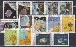 NICARAGUA 1981-1987 - Partie Raumfahrt 14 Verschiedene  Used - Raumfahrt
