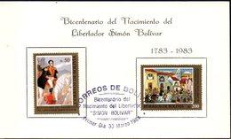 Bolivia 1984 CEFIBOL 1201-02T Tarjeta Bicentenario Del Libertador Simon Bolívar. - Bolivie