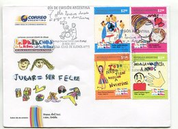 LOS DERECHO DE LOS NIÑOS Y LAS NIÑAS. SOBRE DIA DE EMISION ARGENTINA AÑO 2011 4 TIMBRES. ENVELOPE FDC 4 VALEURS- LILHU - Infanzia & Giovinezza