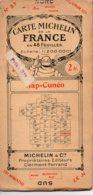 Carte Michelin Années 20 Numéro 37 Gap-Cunéo,bon état. - Roadmaps