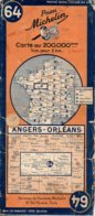 Carte Michelin Année 1945 Numéro 64 , Angers Orléans ,bon état. - Roadmaps