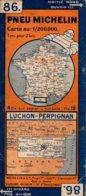 Carte Michelin Années 1940 Numéro 86, Luchon Perpignan ,bon état. - Carte Stradali
